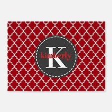 Red and Charcoal Gray Quatrefoil Mo 5'x7'Area Rug