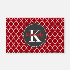 Red and Charcoal Gray Quatref Rectangle Car Magnet