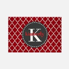 Red and Charcoal Gray Q Rectangle Magnet (10 pack)