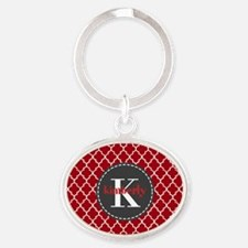 Red and Charcoal Gray Quatrefoil Mon Oval Keychain