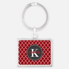 Red and Charcoal Gray Quatrefoi Landscape Keychain