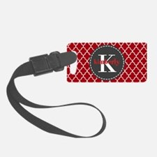 Red and Charcoal Gray Quatrefoil Luggage Tag