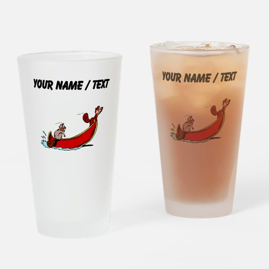 Custom Beavers In Boat Drinking Glass