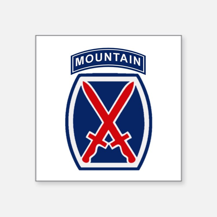 """Cute 10th infantry division Square Sticker 3"""" x 3"""""""