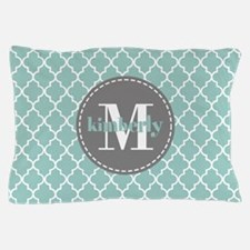 Charcoal and Mint Quatrefoil Pattern M Pillow Case