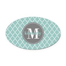 Charcoal and Mint Quatrefoil Patte Oval Car Magnet