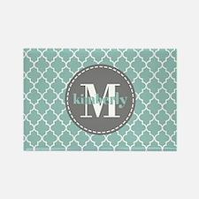 Charcoal and Mint Quatrefoil Patt Rectangle Magnet