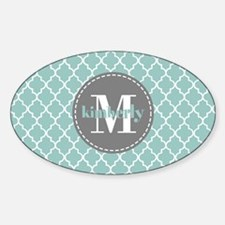 Charcoal and Mint Quatrefoil Patter Sticker (Oval)