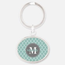Charcoal and Mint Quatrefoil Pattern Oval Keychain