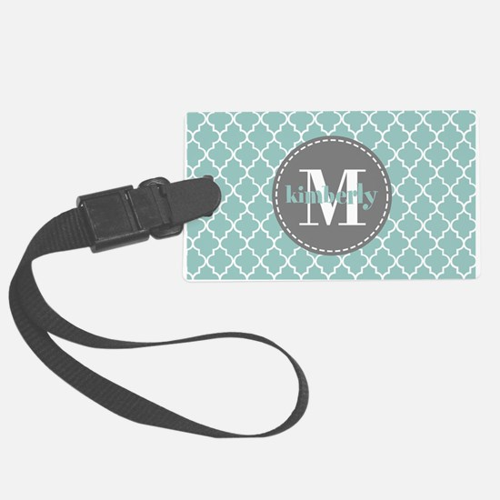 Charcoal and Mint Quatrefoil Pat Large Luggage Tag