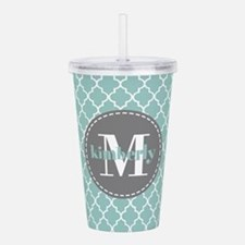 Charcoal and Mint Quat Acrylic Double-wall Tumbler