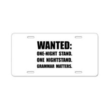 Nightstand Grammar Aluminum License Plate