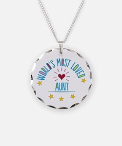 World's Most Loved Aunt Necklace Circle Charm
