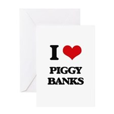 piggy banks Greeting Cards