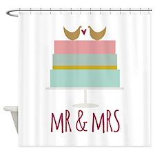 Wedding Cake_Mr and Mrs Shower Curtain