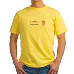 I Love Popcorn Yellow T-Shirt
