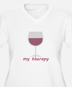 Wine_My Therapy Plus Size T-Shirt