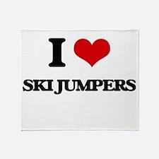 ski jumpers Throw Blanket