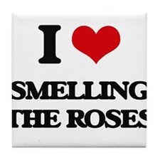 smelling the roses Tile Coaster