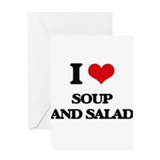 soup and salad Greeting Cards