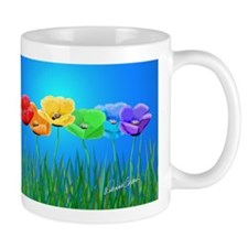 Poppies in a Row On Blue Mugs