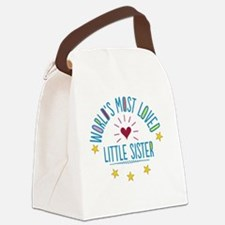 World's Most Loved Little Sister Canvas Lunch Bag