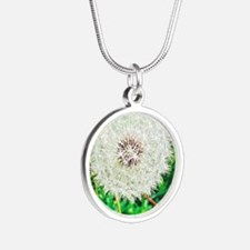 Unique Dandelion seeds blowing in the wind Silver Round Necklace