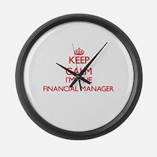 Keep calm I'm the Financial Manag Large Wall Clock