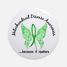 Mitochondrial Disease Butterfly 6 Ornament (Round)