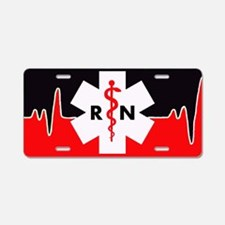 Rn Red Heartbeat Aluminum License Plate