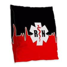 Rn Red Heartbeat Burlap Throw Pillow