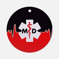 MD Red Heartbeat Ornament (Round)