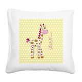 Funny giraffe Square Canvas Pillows