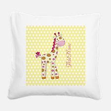 Girly Polka Dots Giraffe Pers Square Canvas Pillow