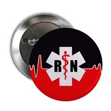 "RN Red Heartbeat 2.25"" Button (100 pack)"