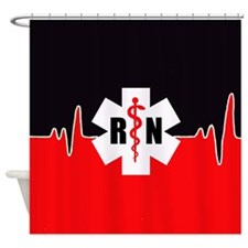 RN Red Heartbeat Shower Curtain