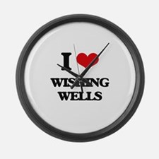 wishing wells Large Wall Clock