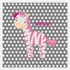 Monogrammed Pink Gray Zebra Invitations