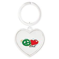 PEACE LOVE GOD Keychains