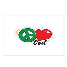 PEACE LOVE GOD Postcards (Package of 8)