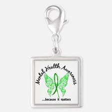 Mental Health Butterfly 6.1 Silver Square Charm