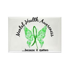 Mental Health Butterfly 6.1 Rectangle Magnet