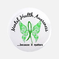 """Mental Health Butterfly 6.1 3.5"""" Button"""