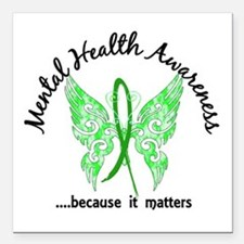 "Mental Health Butterfly Square Car Magnet 3"" x 3"""