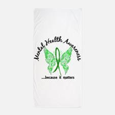 Mental Health Butterfly 6.1 Beach Towel