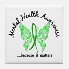 Mental Health Butterfly 6.1 Tile Coaster
