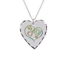 Multicolored Curlicues Heart Necklace