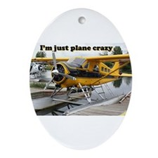 I'm just plane crazy: Beaver float Ornament (Oval)