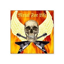 "Metal For Life Square Sticker 3"" x 3"""