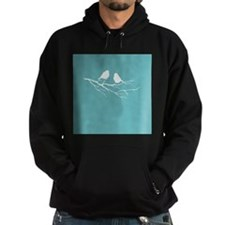 Two Little white Sparrow Birds Blue Shade Hoodie